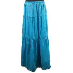 Talbots Skirts - Talbots Blue Silk Blend Tiered Maxi Skirt